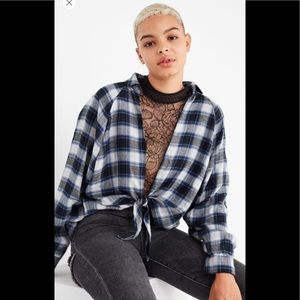 NWT UO Courtney Tie-Front Flannel Top